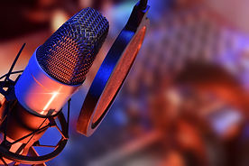 Studio microphone with headphones and mi