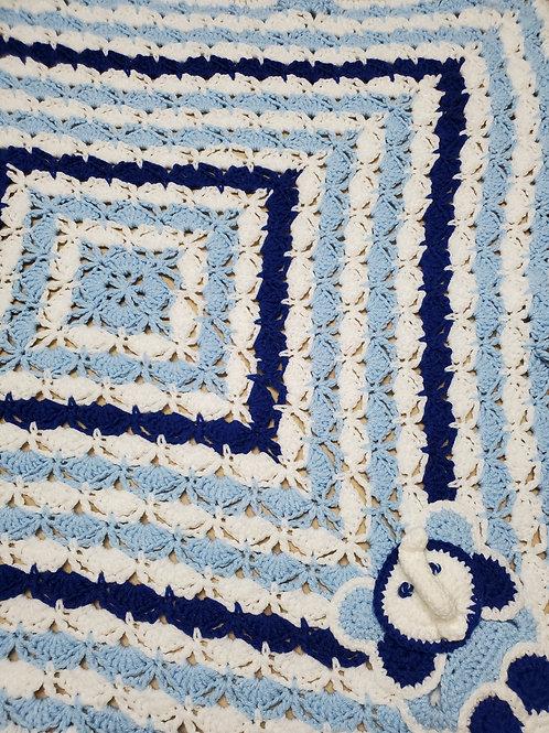 Blue & White Scalloped Hand Crocheted Baby Blanket