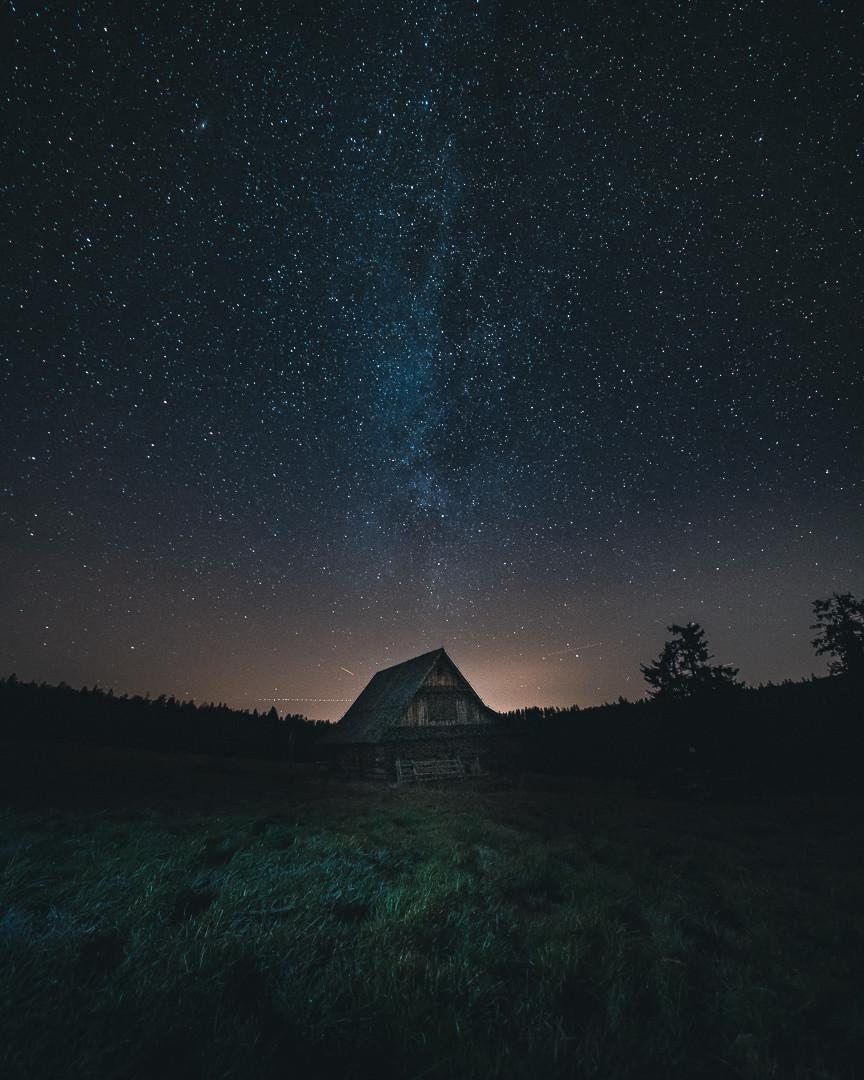 Droga Mleczna uchwycona na jednej z gorczańskich hal