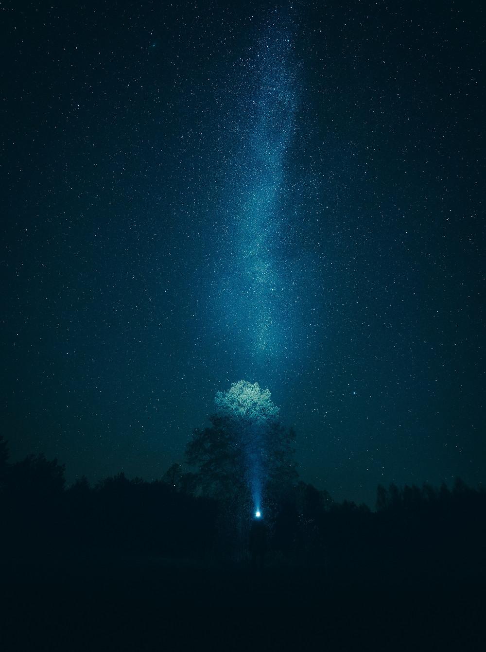 Nocne niebo z gwiazdami na Kaszubach