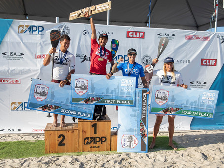 Luiz Diniz and Izzi Gomez take victory at stop #2 of the APP World Tour Surfing in Long Beach, NY