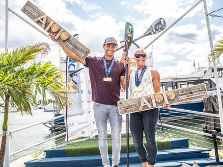 Arthur Arutkin and April Zilg take victory in the Liberty Race and Overall for the New York SUP Open