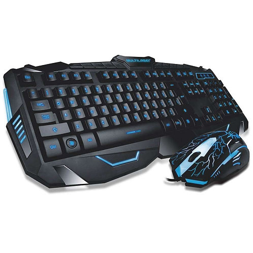 Teclado e Mouse Gamer Lightning Multimídia Multilaser com LED em 3 Cores - TC195