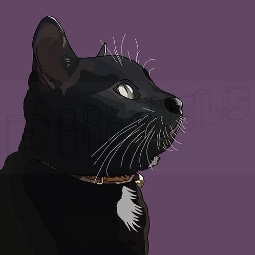Black & White Cat Print
