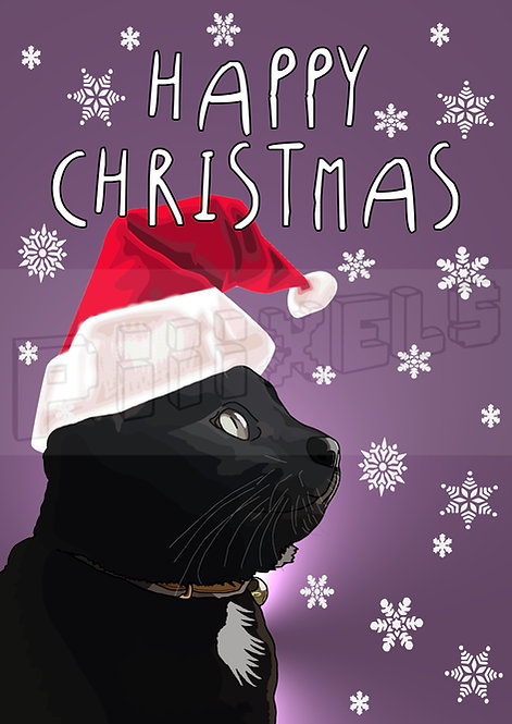 Black Cat Happy Christmas Card