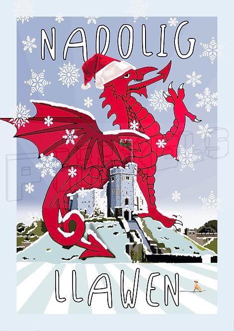 Cardiff Castle Nadolig Llawen Card