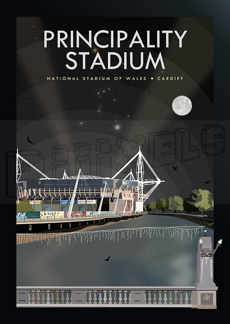 Principality Stadium (Night) Print