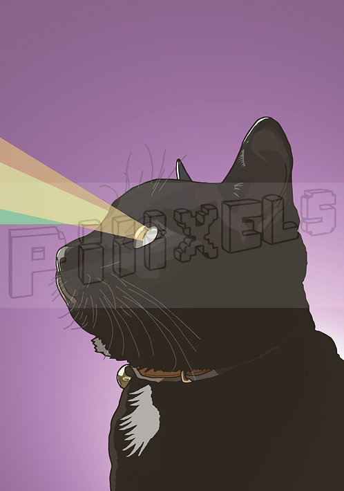 Purple Cat Greeting Card