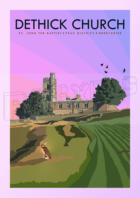 Dethick Church, Derbyshire by Dusk Print