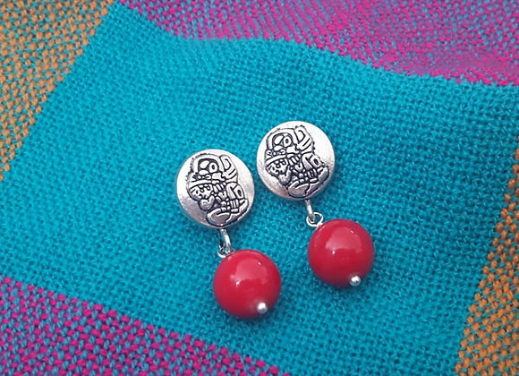 Fossil Mayan Earrings