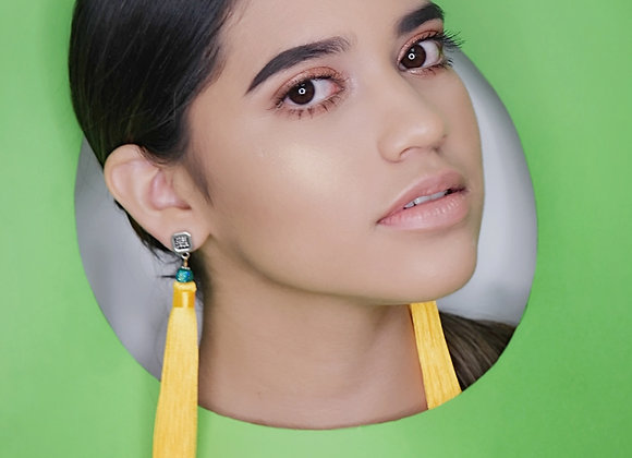 Yellow Mayan Tassel Earrings