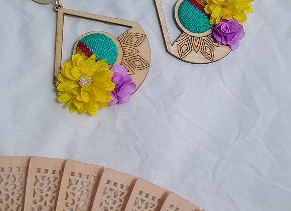 Lenca Wooden Flower Earrings