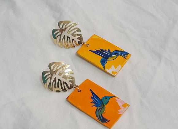 Wooden Hummingbird Earrings