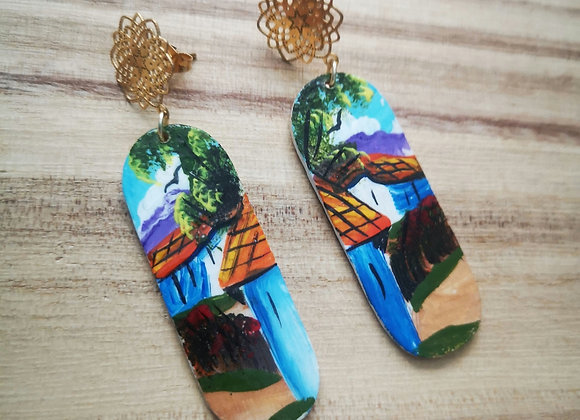 Wooden Town Painting Earrings