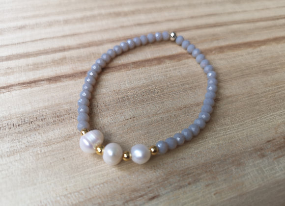 Pearl and crystal stacking bracelet