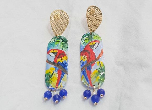 Wooden Macaw Earrings