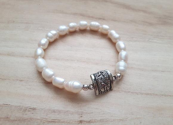 Mayan Glyph Pearl Bracelet