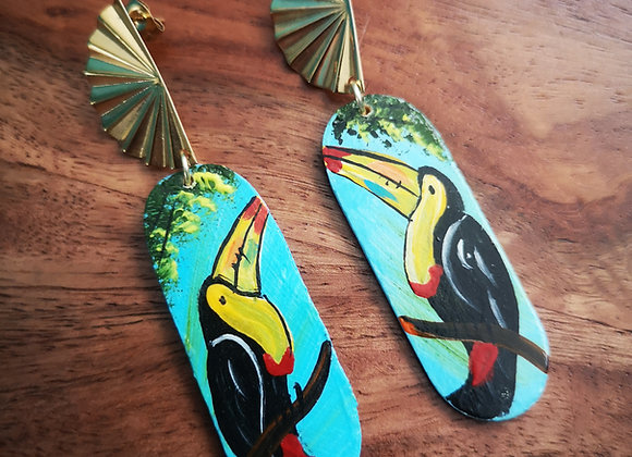 Wooden Toucan Earrings - blue