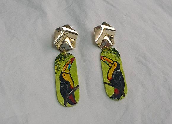 Wooden Toucan Earrings