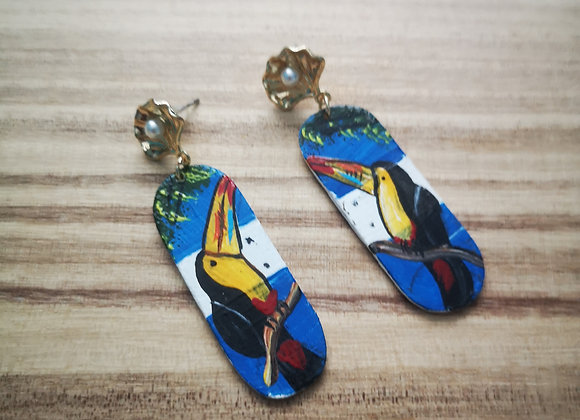 Wooden Toucan Earrings - White and blue