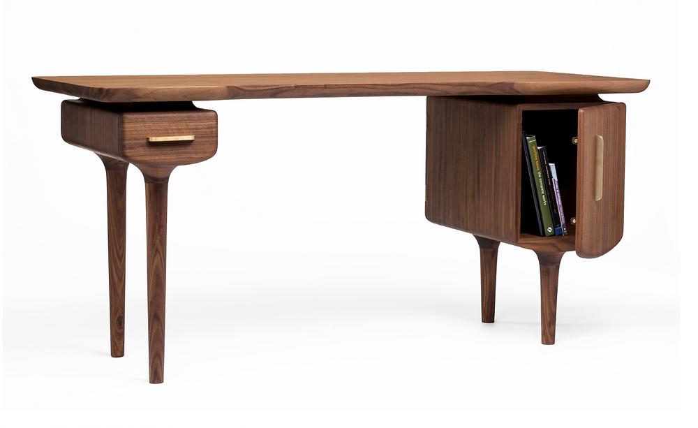 """Joseph C. Furniture C Desk 64""""L x 26""""W x 20""""H Solid Walnut, Solid Brash, Oil Finish"""