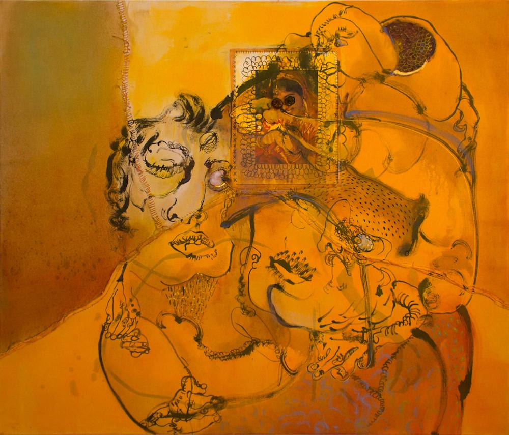 Sahana Ramakrishnan. Asura (2016), Oil, Collage, and Brass pieces on Canvas, 46 x 54 inches