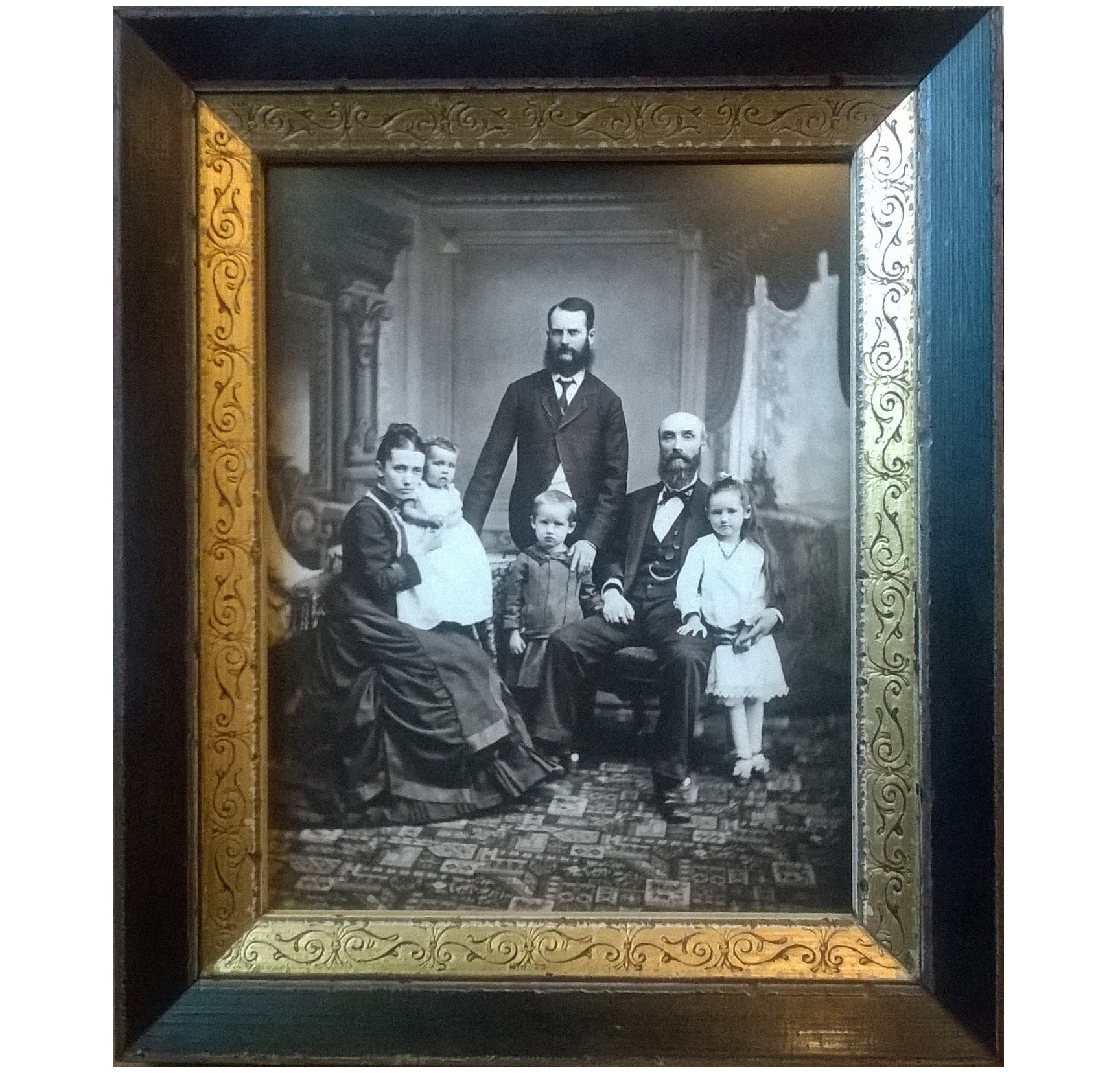 Framed antique family portrait