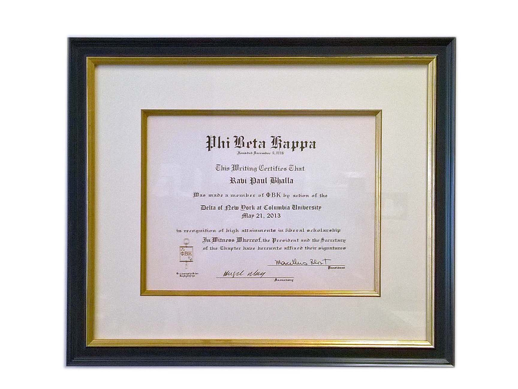 Economical diploma framed