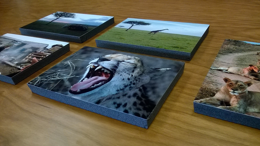 photos mounted on 1/2 inch foam board