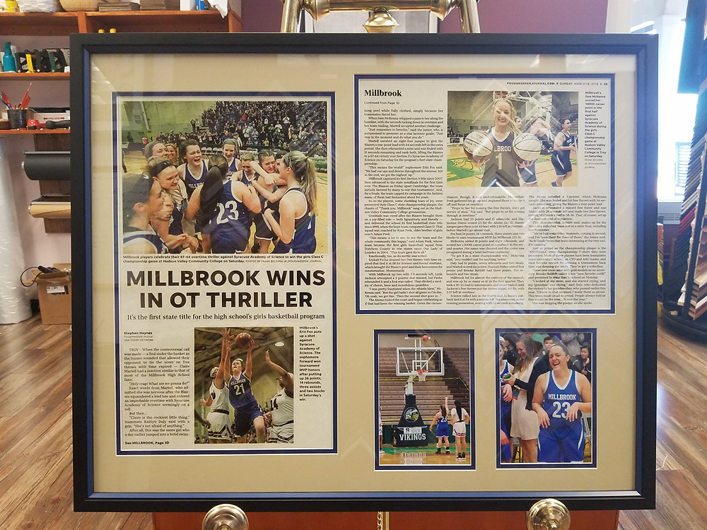 Millbrook High School Basketball OT Win by The Village Frame Shop