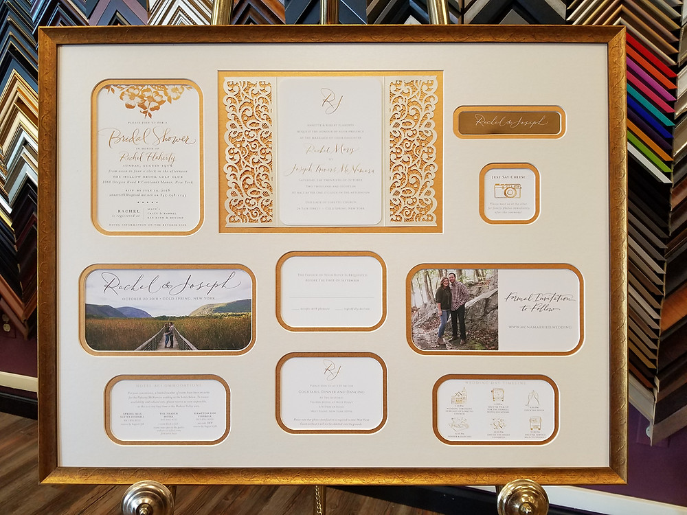 Wedding invitation ensemble framed