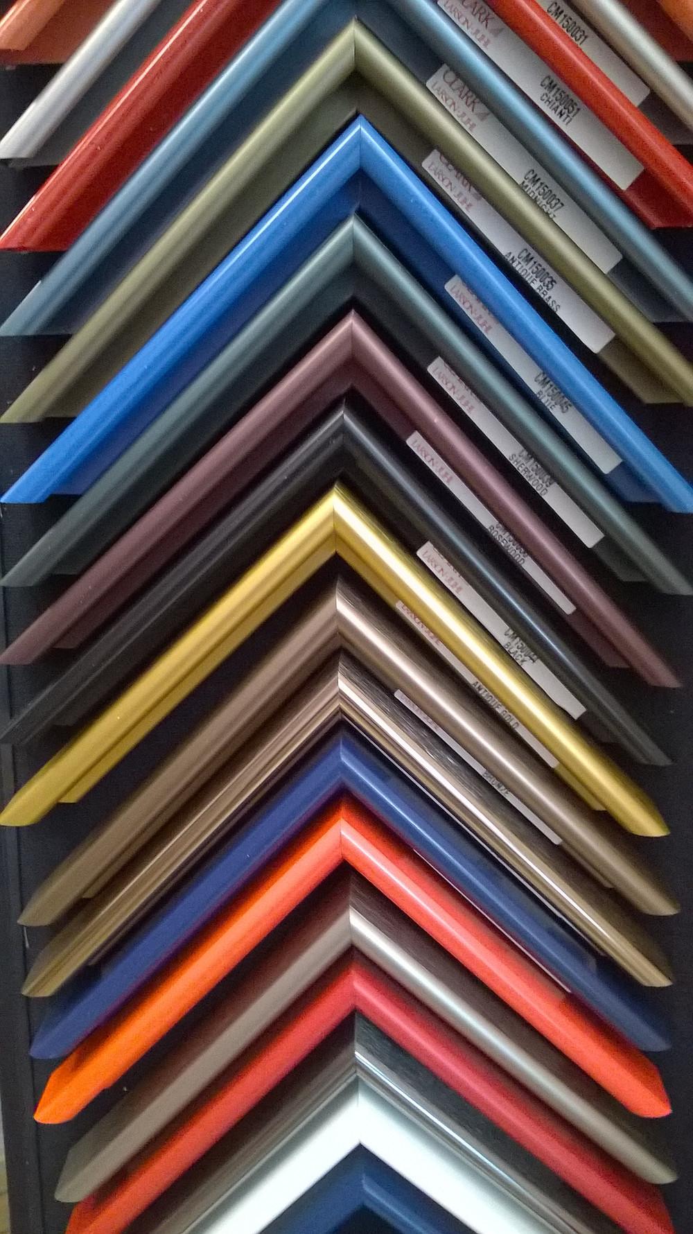 colorful, metal frames at the Village Frame Shop