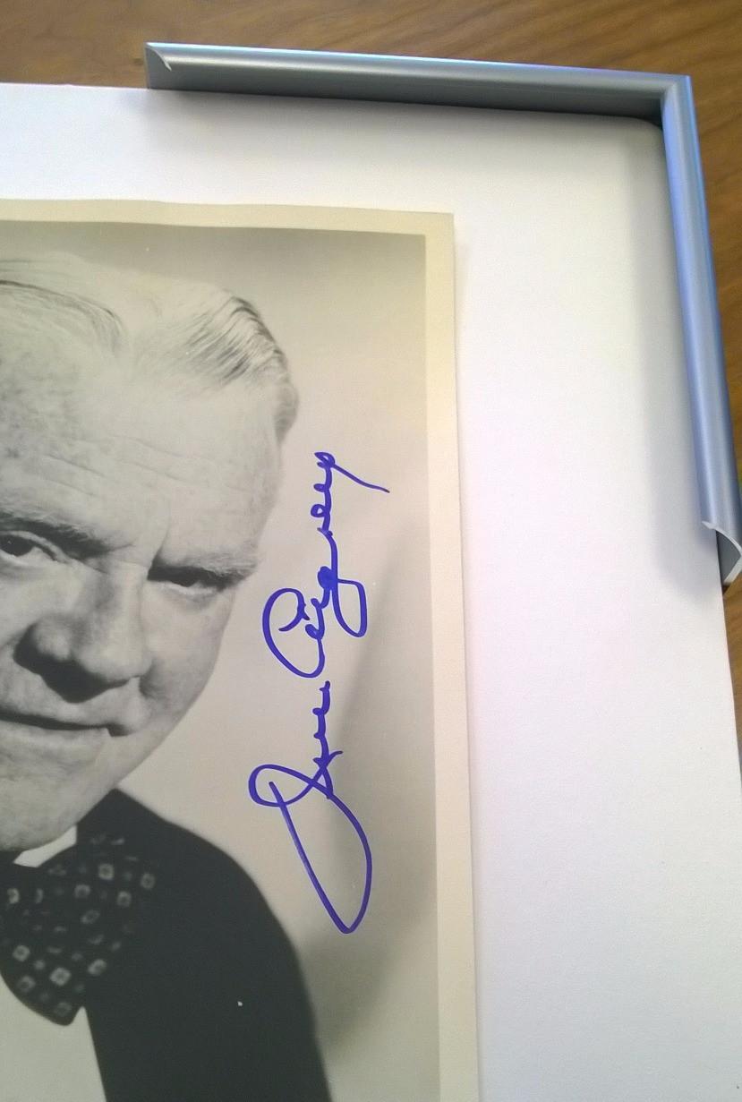 James Cagney autograph and Larsen Juhl Metal frame at The Village Frame Shop