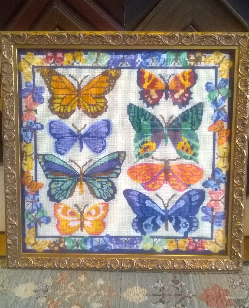 Needlepoint Butterflies Framed Village F