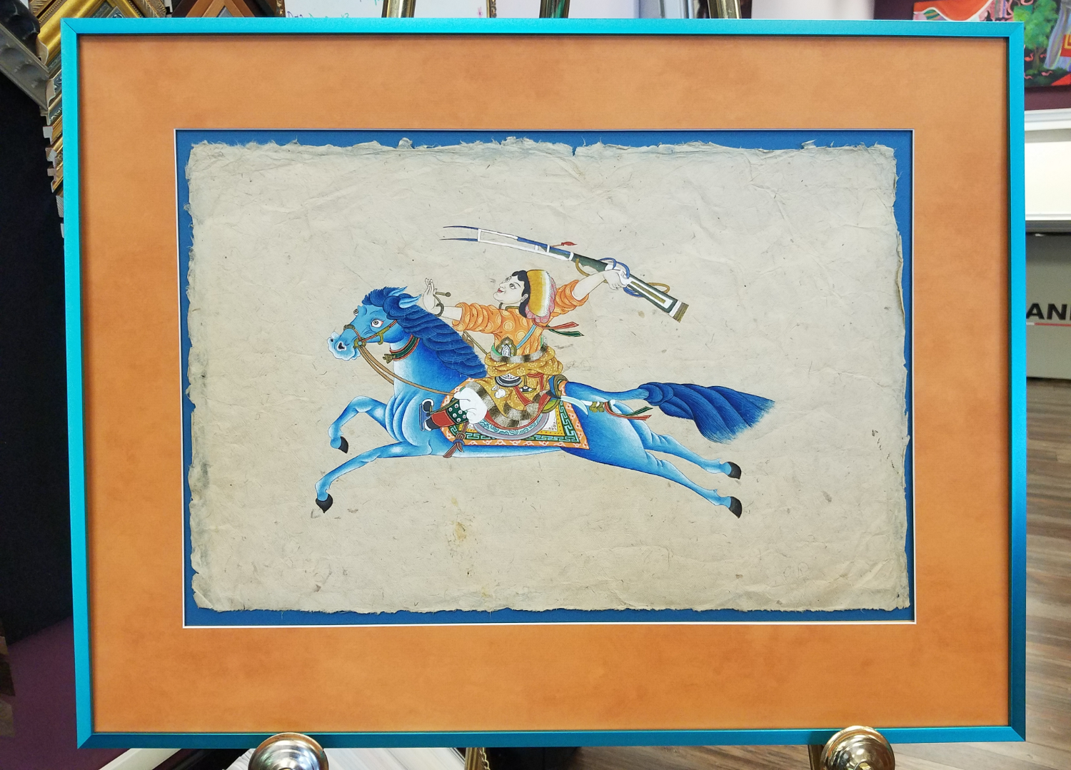 Paint on Papyrus metallic blue frame