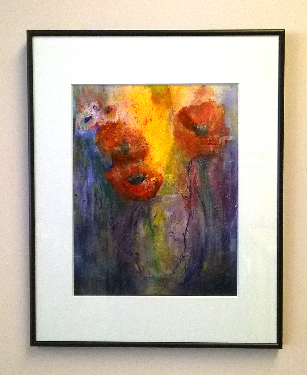 Sleek, understated elegance with a metal picture frame. Shown here is Linda Pennachio's mixed media.