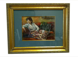 framed painting with gold filet