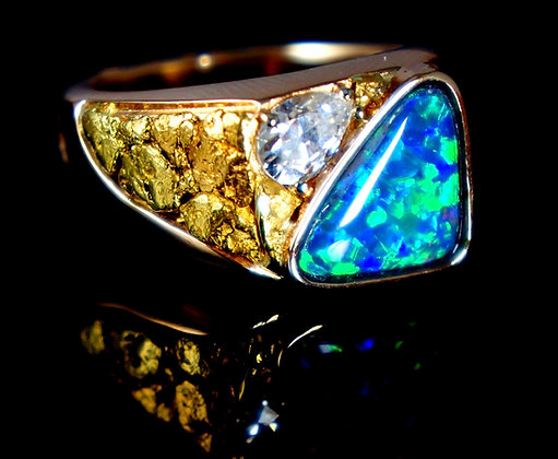 4.34ct Black Opal, Moissanite, Nugget Mens Ring