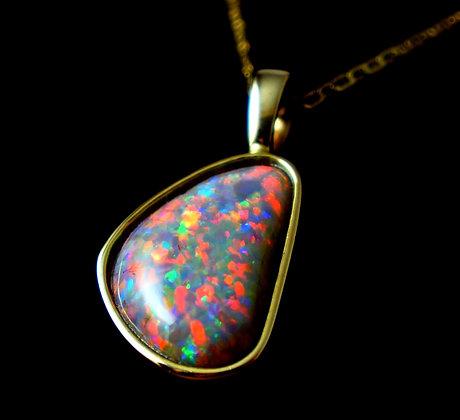 9.79ct Black Opal Pendant 14k Yellow Gold