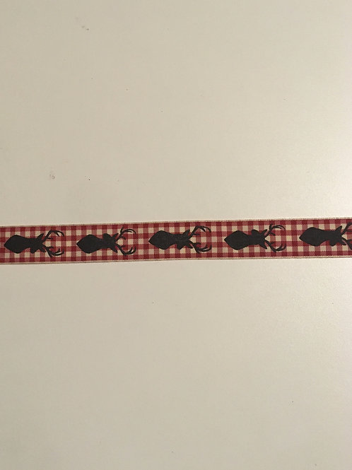 "7/8"" Red Plaid w/ stags"