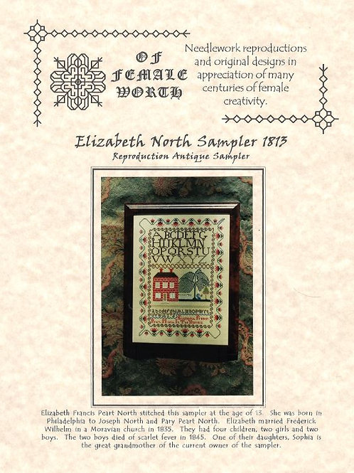 Elizabeth North Sampler 1813 | Of Female Worth