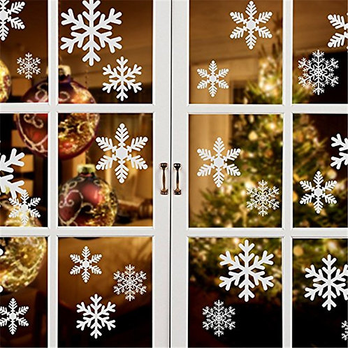 27 Piece Set of Snowflake Window Cling Stickers
