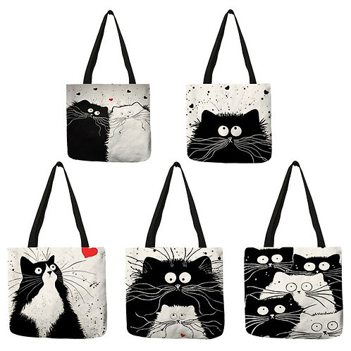 Cat Print Tote Bag