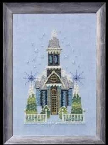 Little Snowy Blue Church Snow Globe Village Series  Nora Corbett Designs