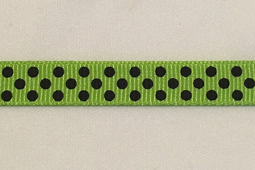 Lime Green grosgrain w/ black polka dots