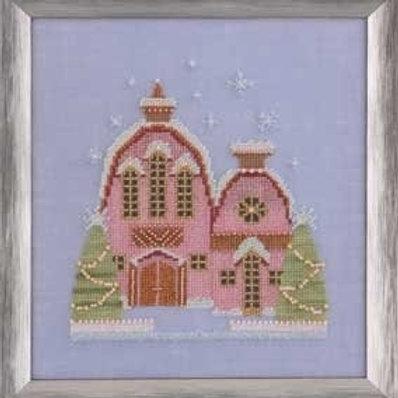 Little Snowy Pink Cottage Snow Globe Village Series  Nora Corbett Designs