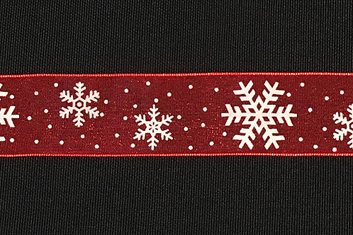 Red Organza w/ snowflakes