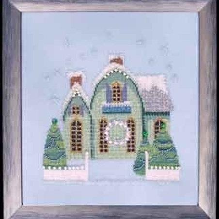 Little Snowy Green Cottage Snow Globe Village Series| Nora Corbett Designs