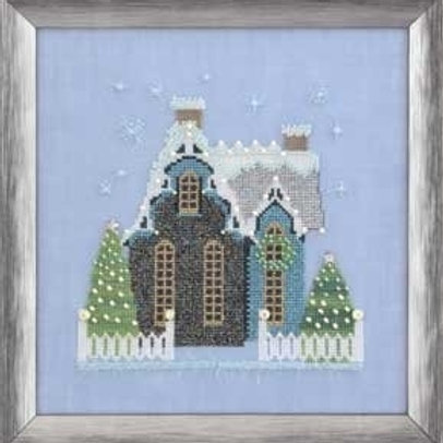Little Snowy Blue Cottage Snow Globe Village Series| Nora Corbett Designs