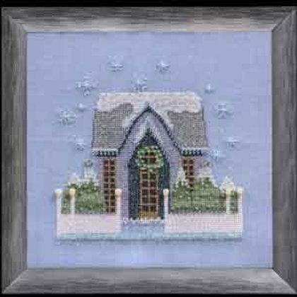 Little Snowy Gray Cottage Snow Globe Village Series  Nora Corbett Designs